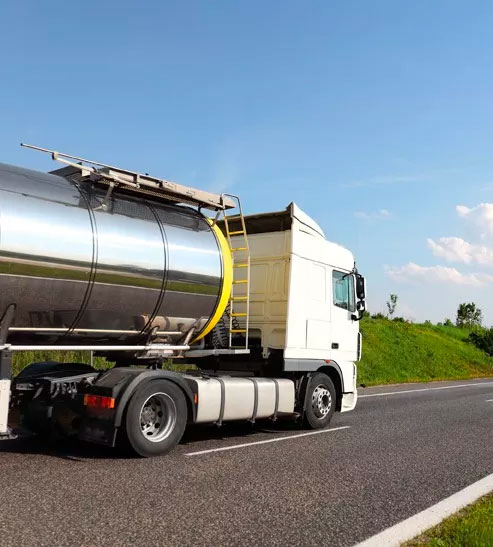 Commercial truck driving on the highway