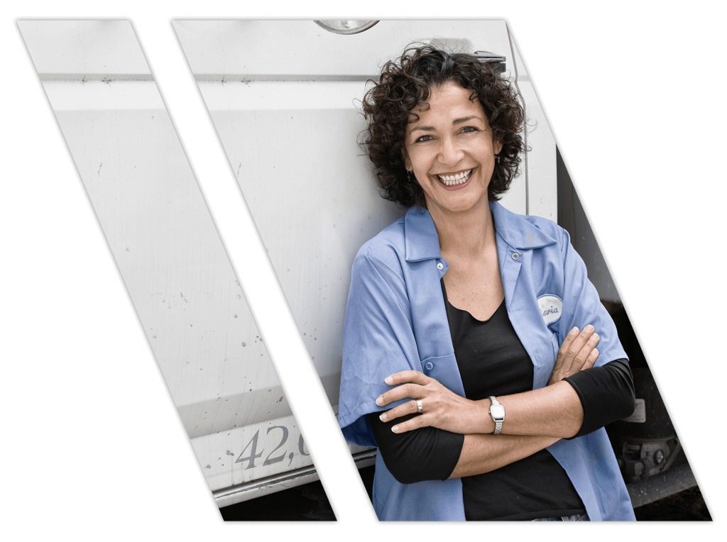 Female truck driving instructor