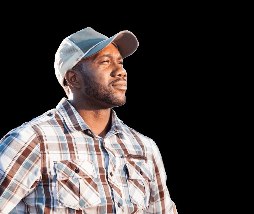 Black male confident truck driver