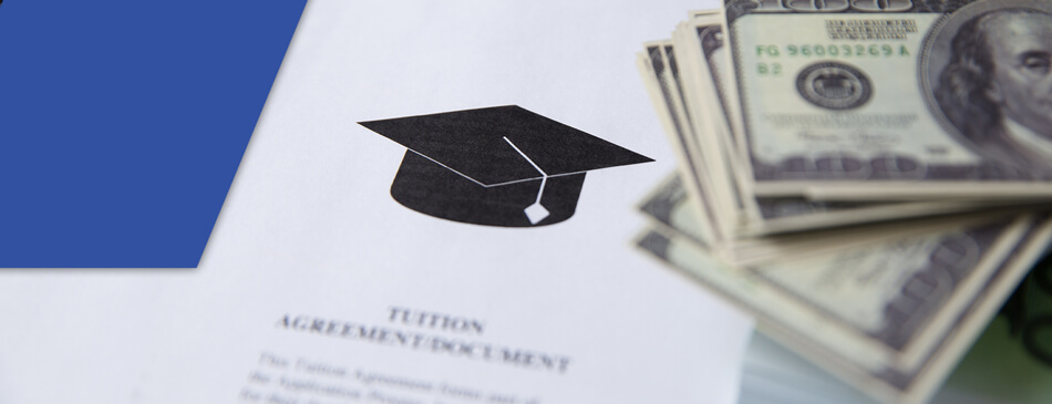 dollar bills and tuition agreement offering financial assistance for truck driving school